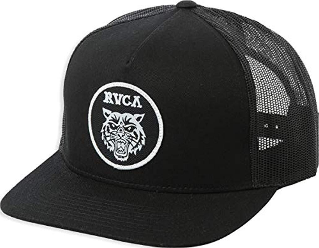 fdd06b11acb32 RVCA - Black Tiger Patch Mesh Back Trucker Hat for Men - Lyst. View  fullscreen