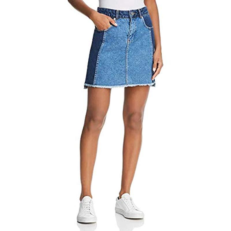 6d690e71ea Lyst - French Connection Laos Two Tone Denim Jean Mini Skirt in Blue ...