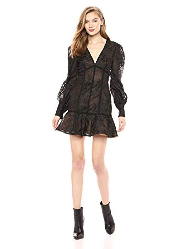 3b1542ff6481f Lyst - Keepsake Wonderland Longsleeve Lace Flared Dress in Black