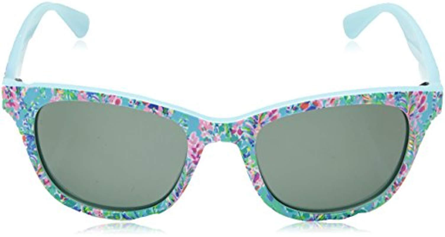 e7b9cfc3a4 Lilly Pulitzer - Blue Maddie Polarized Square Sunglasses Catch The Wave 52  Mm - Lyst. View fullscreen
