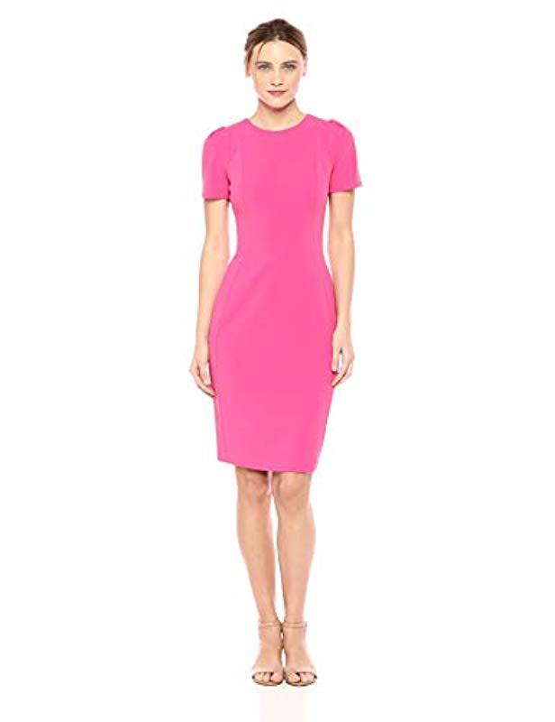 ee562363 Lyst - Calvin Klein Short Sleeved Princess Seamed Sheath Dress in Pink