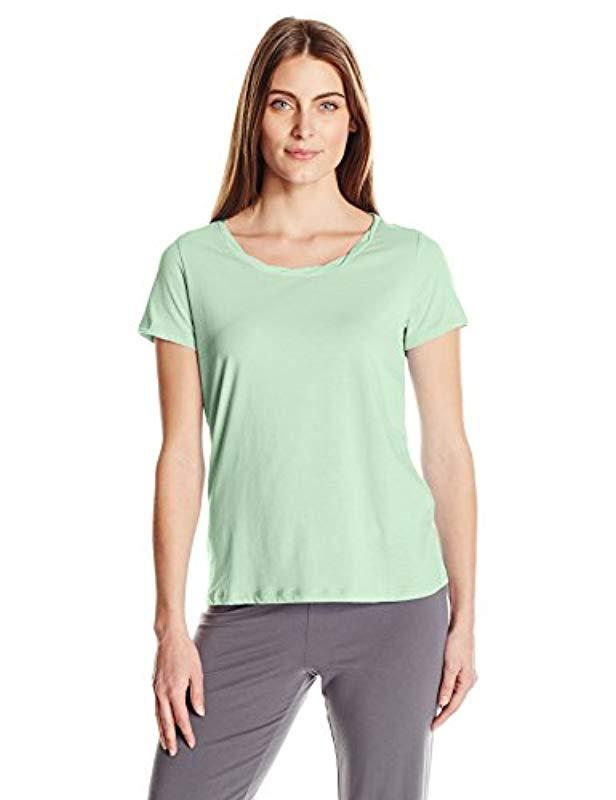 Lyst - Jockey Cotton Jersey Short Sleeve Top in Green - Save ... 969b388c9