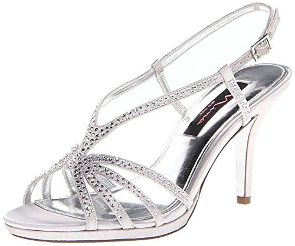 4a7ea25b90d5 Lyst - Nina Bobbie Js Dress Sandal in Metallic - Save ...
