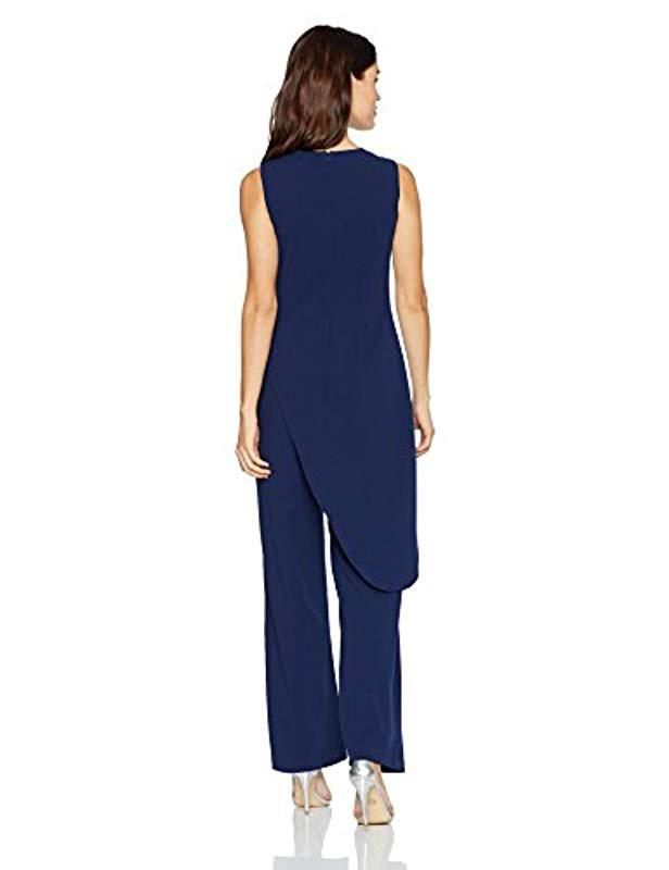 82ab9f426319 Lyst - Adrianna Papell Knit Crepe Asymmetrical Jumpsuit in Blue