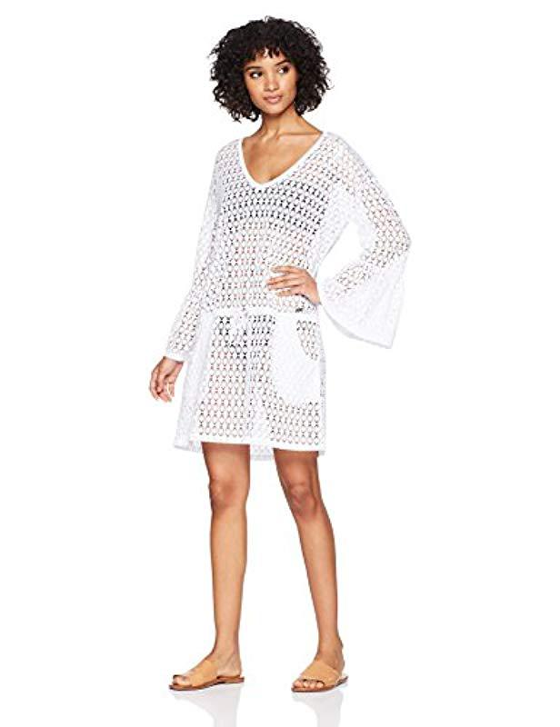eaf533c03378c Calvin Klein. Women s White Crochet Swimsuit Cover Up Tunic With Bell Sleeve