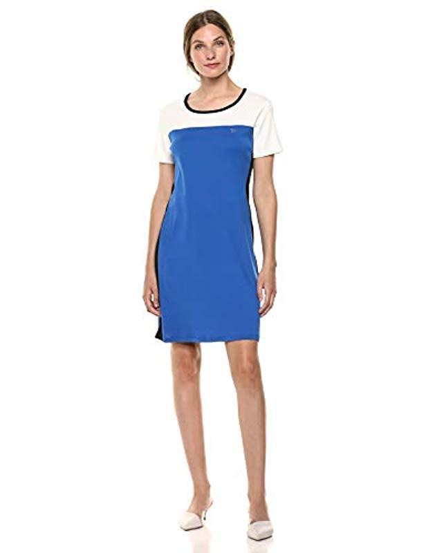5bcb739f822 Calvin Klein Short Sleeve Colorblock Dress With Logo in Blue - Lyst