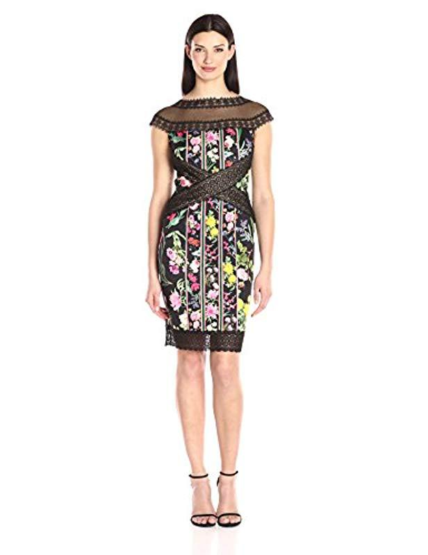 661d3a8e3a3 Lyst - Tadashi Shoji Floral And Lace Cap Sleeve Dress in Black