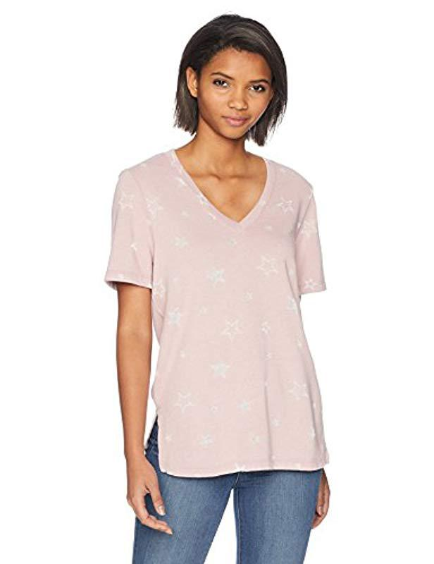 eee902fa304 Lyst - Michael Stars Burnout Star Terry Short Sleeve V-neck With ...