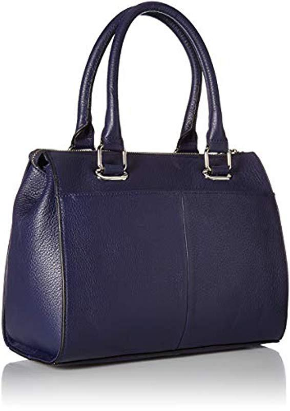 48e0292422bbe Calvin Klein - Black Halle Pebble Leather Top Zip Key Item Satchel - Lyst.  View fullscreen