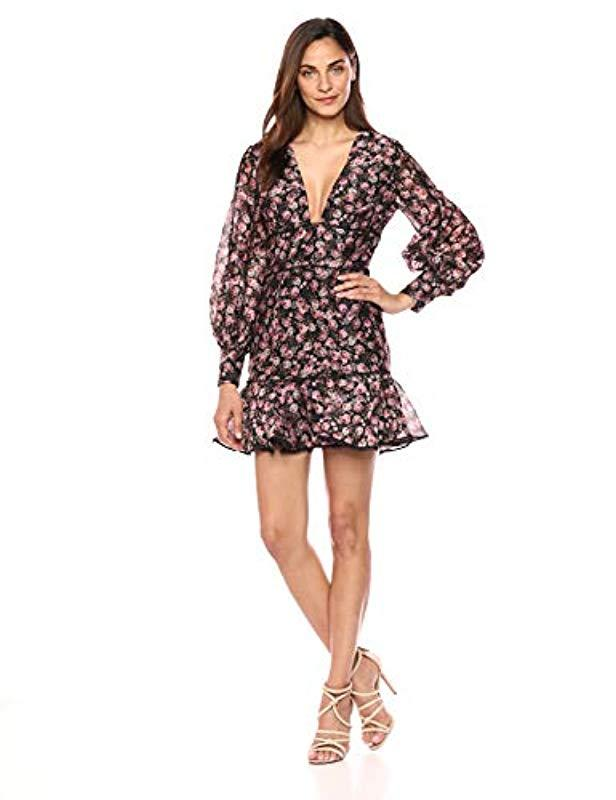 e0954e06f073 Keepsake One Love Puff Sleeve Fit & Flare Floral Longsleeve Dress in ...