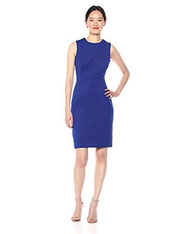 df09d8d8 Calvin Klein. Women's Blue Scuba Sleeveless Princess Seamed Sheath Dress