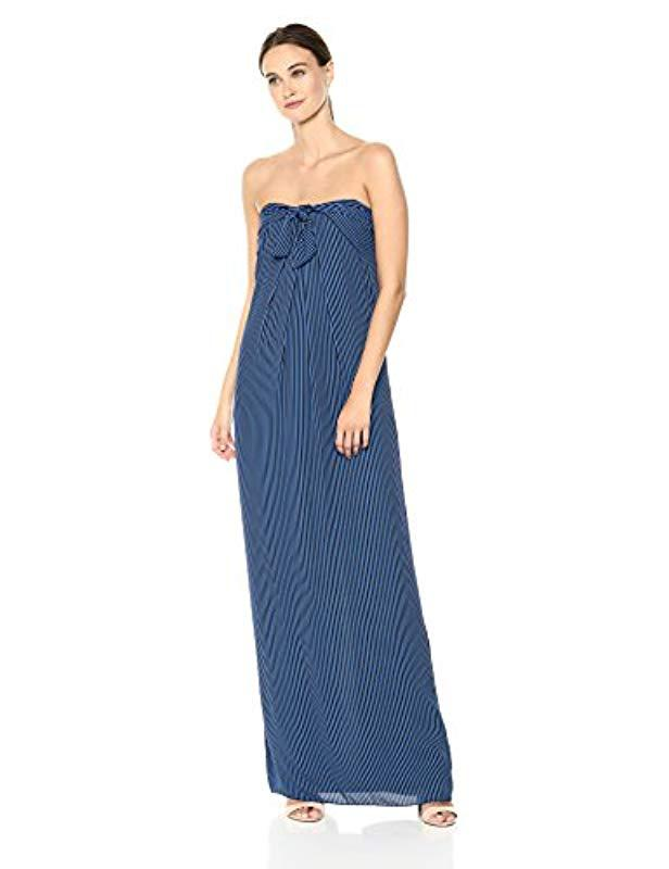 1d39e0fc8769a Lyst - Halston Strapless Tie Front Striped Gown in Blue