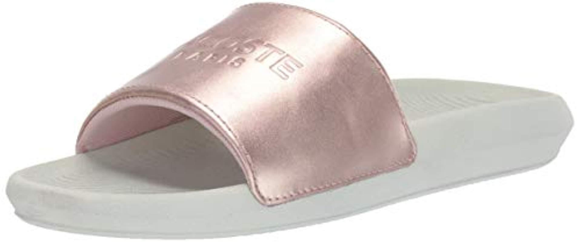 e4640353b Lyst - Lacoste Croco Slide Sandal Pink off White 7 Medium Us in Pink