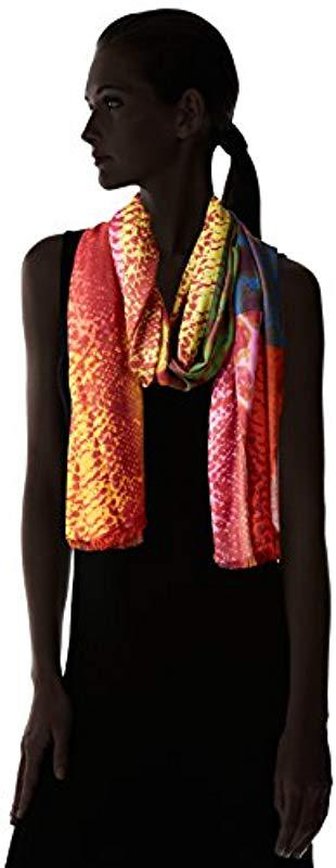 371c01936d5ac La Fiorentina Multi Color Snake Print Scarf in Red - Lyst