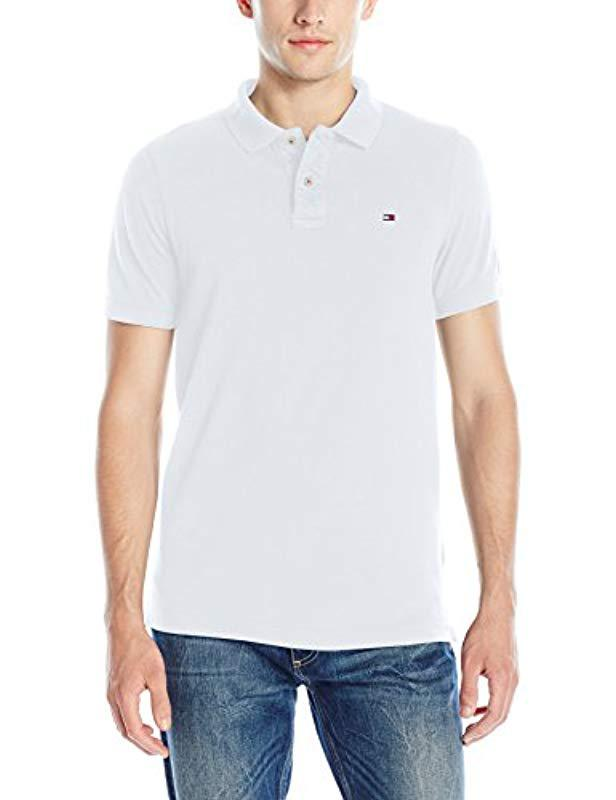 c5bb45b2 Tommy Hilfiger. Men's White Denim Polo Shirt Original Flag With Short  Sleeves