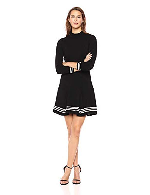 6429b22c8f2 Lyst - Anne Klein Ruffle Mock Neck Fit And Flare Sweater Dress in Black