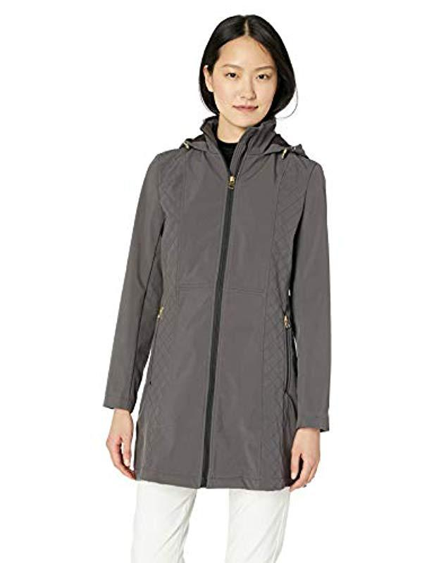 6c8cae6c5f0 Lyst - Anne Klein Diamond Rain Softshell Coat With Hood in Gray