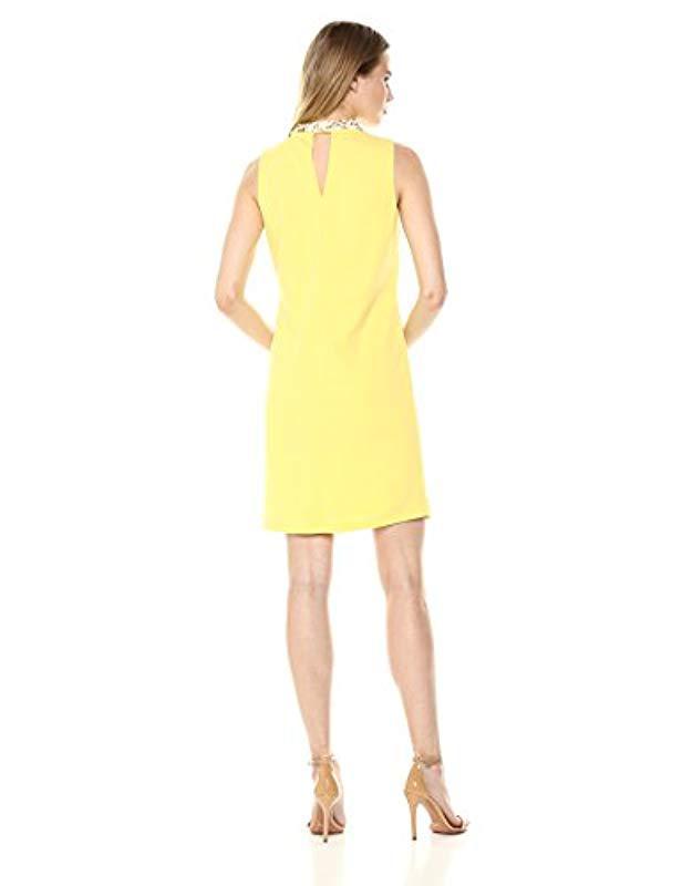 bcdd05449e87 Lyst - Nine West Sleeveless Mock Neck Shift Dress in Yellow