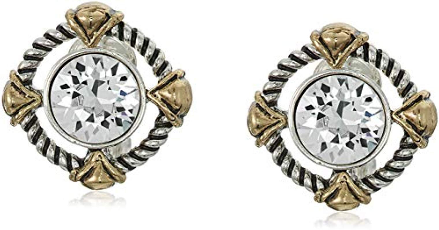58a5f5407 Lyst - Napier Swarovski Crystal Button Clip On Earrings in Metallic ...