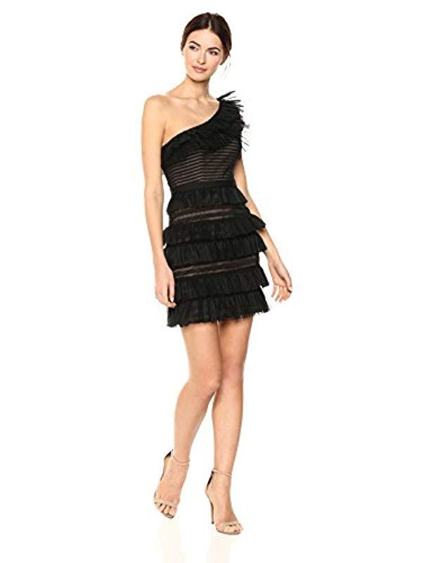 8eb45ce0b8ff Lyst - BCBGMAXAZRIA Rena One-shoulder Lace Dress in Black