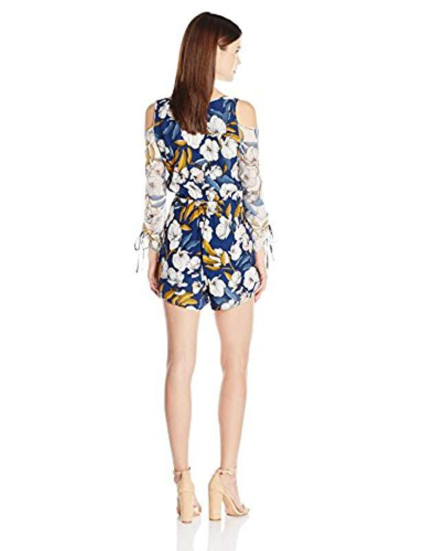 b928394f94f Lyst - MINKPINK Pacifico Floral Print Cold Shoulder Playsuit in Blue - Save  42%
