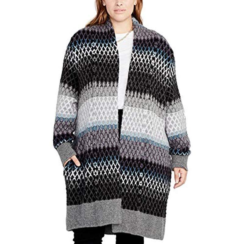 bae1d80591f Lyst - RACHEL Rachel Roy Plus Size Ombre Diamond Sweater Coat in Black