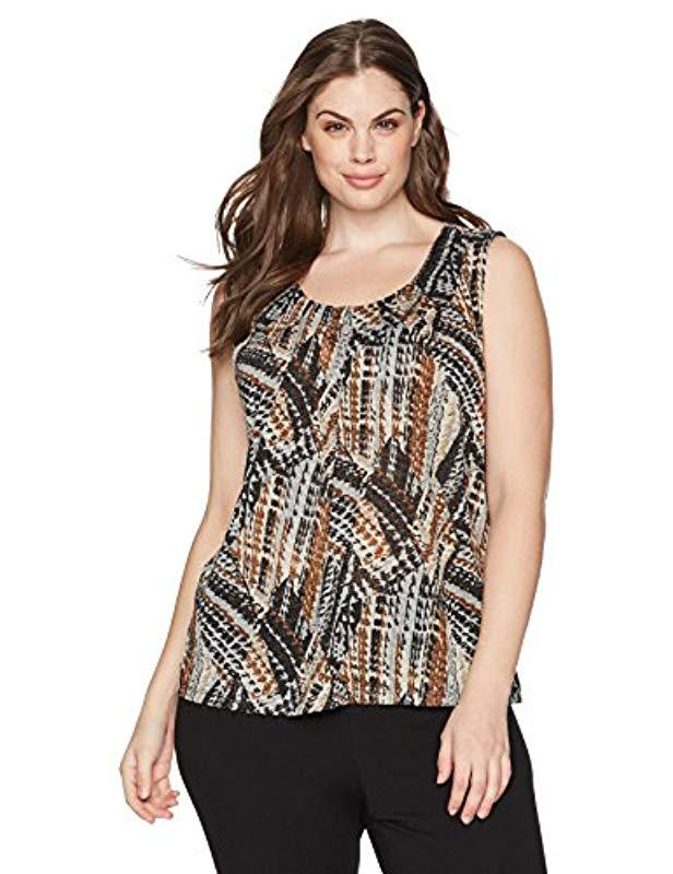969e0f4e48a Kasper - Multicolor Plus Size Abstract Printed Metallic Knit Cami - Lyst.  View fullscreen