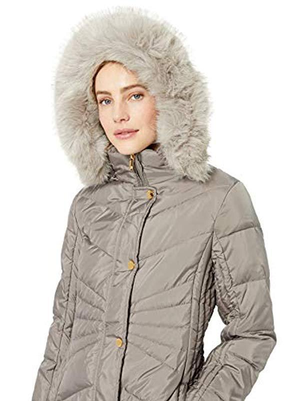 eb35f6e769c Lyst - Anne Klein Long Down Coat Faux Fur Trim