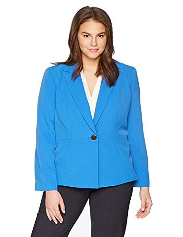 33694cd3f4d Lyst - Kasper Size Plus 1 Btn Stretch Crepe Notch Lapel Jkt in Blue