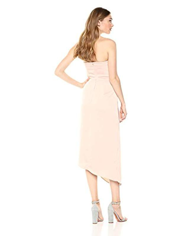 229b2b748fa5 Lyst - C meo Collective No Less Strapless Gathered Midi Dress With Slit in  Pink