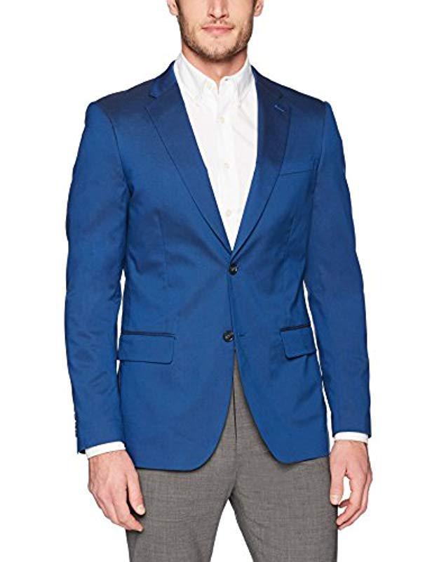 71c19c7eb2 Lyst - Perry Ellis Very Slim Iridescent Twill Suit Jacket in Blue ...