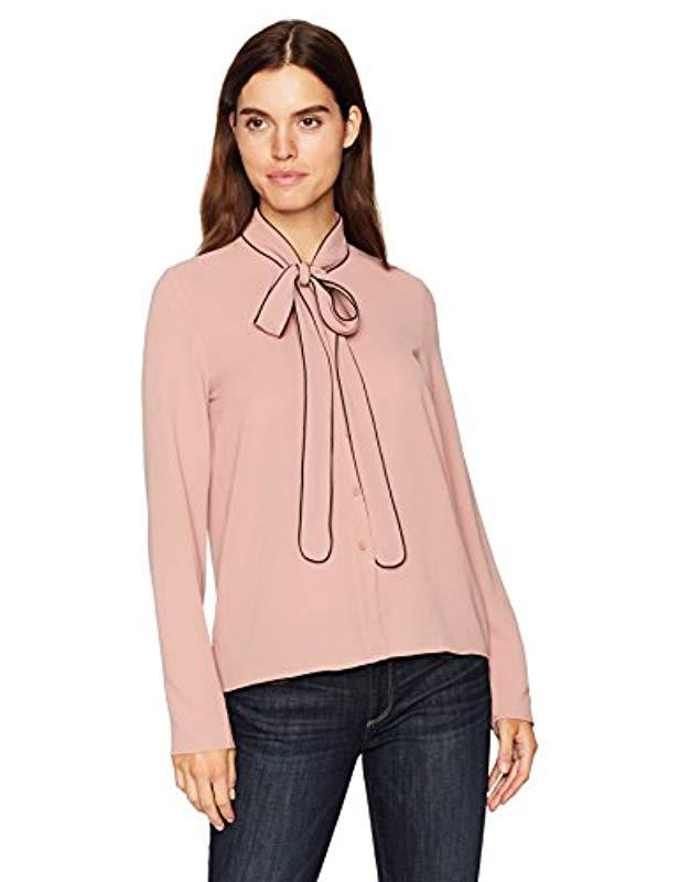 5ebf10250bb1 Lyst - Vero Moda Lauren Bow Long Sleeve Shirt Top, in Pink - Save ...