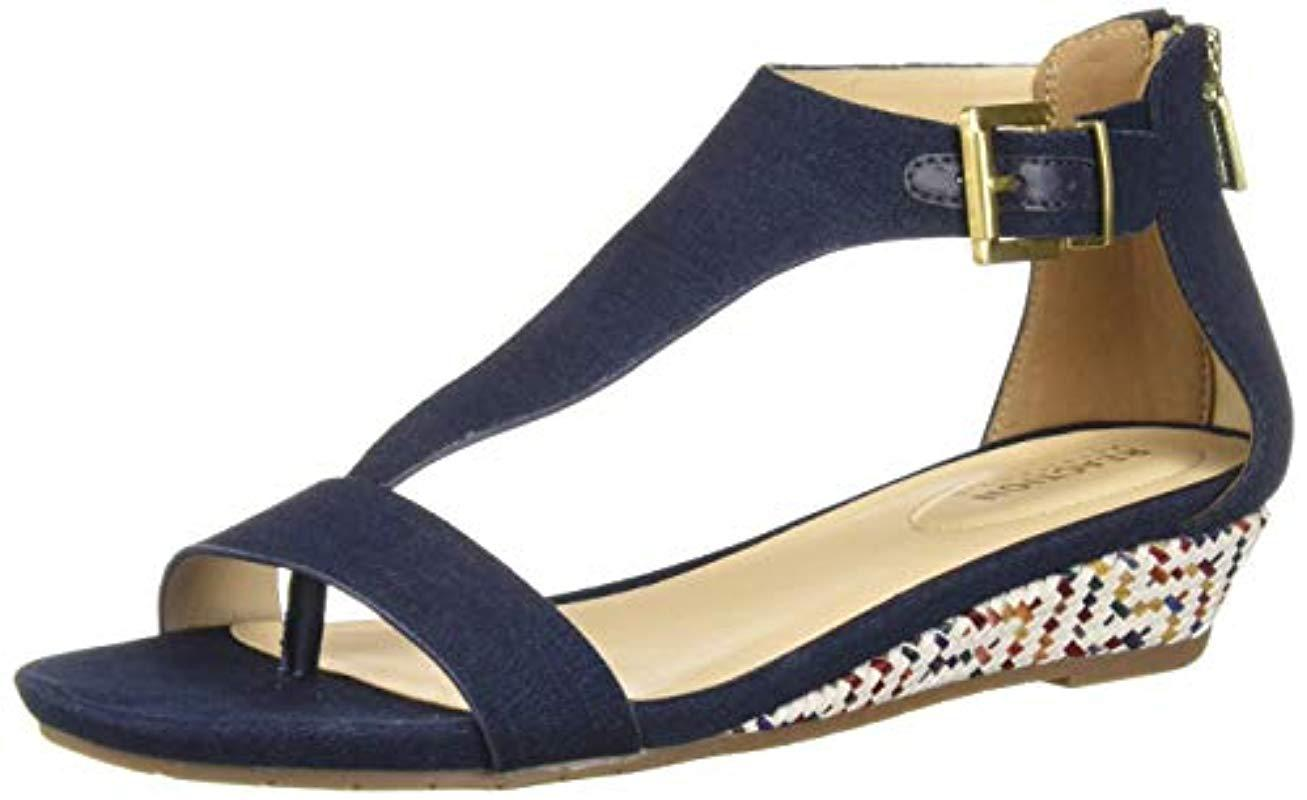 812ba813d0 Lyst - Kenneth Cole Reaction Gal T-strap Low Wedge Sandal in Blue