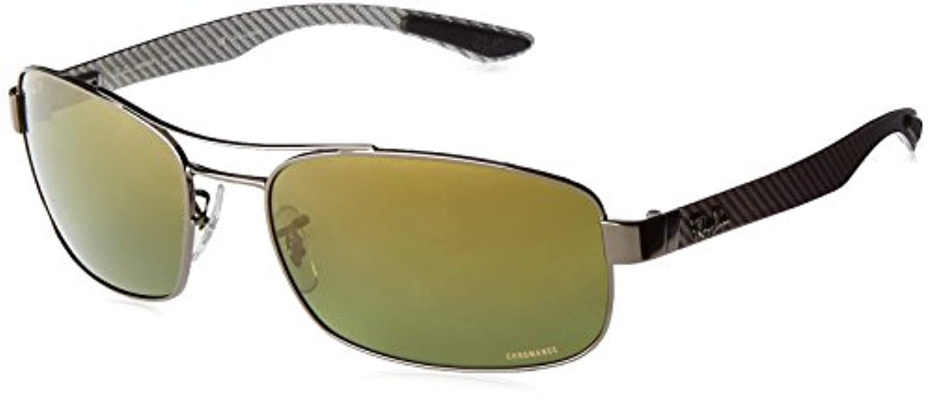 b58a5574f2 Lyst - Ray-Ban Rb8318ch Chromance Lens Rectangular Metal Sunglasses ...