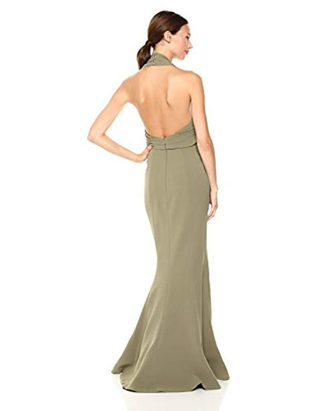 c16a4009035d Lyst - C meo Collective Methodical Halter Gown With High Slit And Tie  Detail in Natural