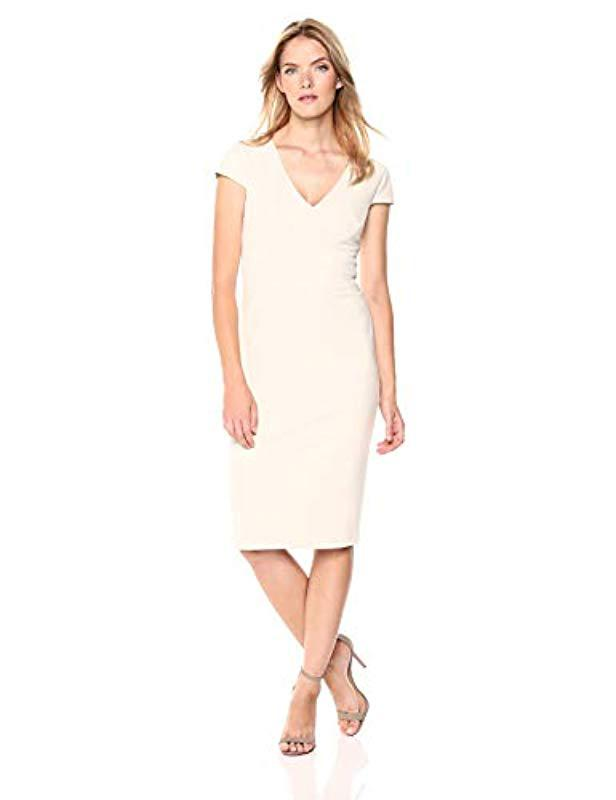 0547fa34 Lyst - Donna Morgan Cap Sleeve Stretch Crepe Sheath Dress - Save 40%