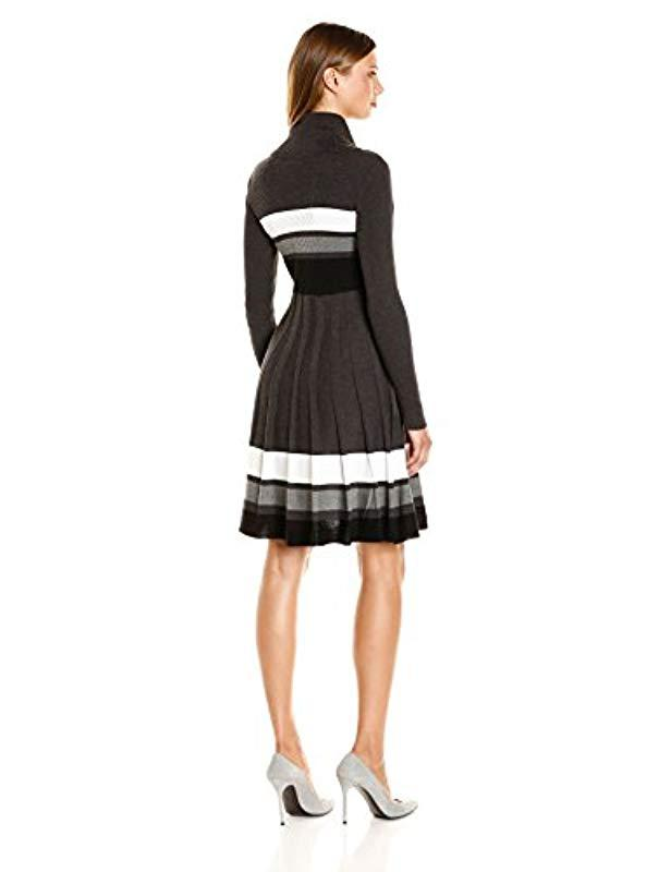2d493f7bce42f Lyst - Calvin Klein Long-sleeve Cowl-neck Fit & Flare Sweater Dress in  Black - Save 4%