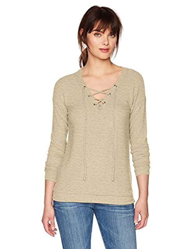 0db4551bc0f42 Michael Stars. Women s Natural Madison Brushed Jersey Long Sleeve V-neck ...