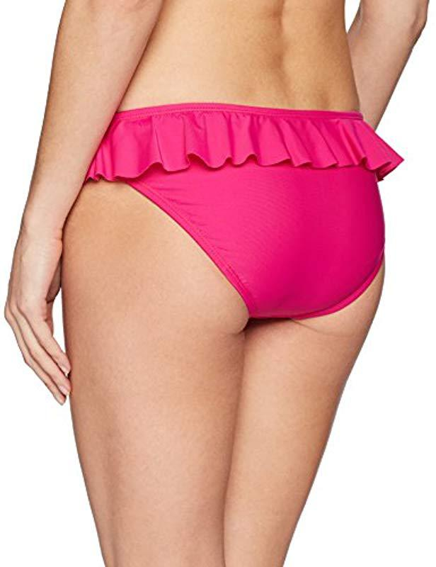 e9507d74bbe0f Lyst - Shoshanna Solid Magenta Ruffle Bottom in Purple - Save 40%