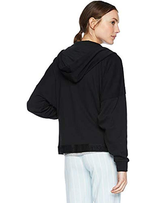 eb36d9452611 Lyst - Calvin Klein Tonal Logo Lounge Full Zip Hoodie in Black