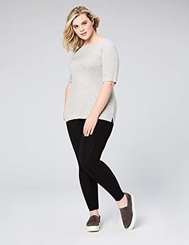9058de7adf Lyst - Daily Ritual Plus Size Rib Knit Jersey Elbow-sleeve Boat Neck Shirt  in Gray