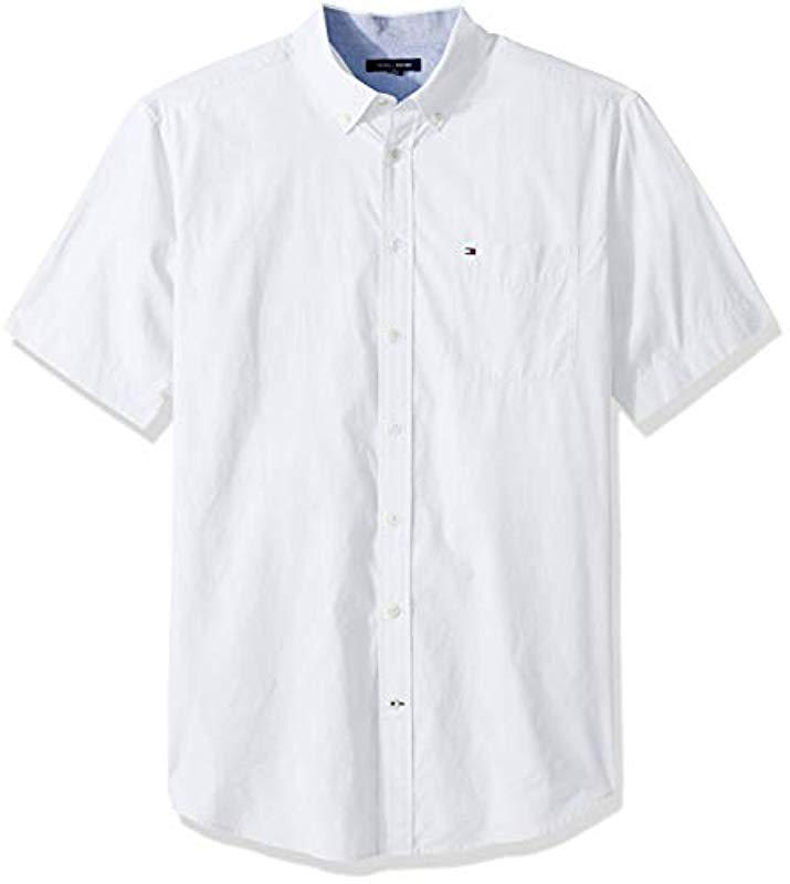 77c185024 Tommy Hilfiger. Men s White Big And Tall Button Down Short Sleeve Shirt  Maxwell