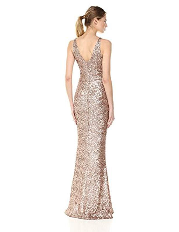 Lyst Dress The Population Harper Sequin Sleeveless Plunging Long