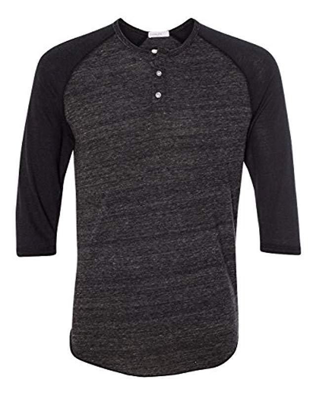 b835e002 Lyst - Alternative Apparel Raglan 3/4 Sleeve Henley Shirt in Black for Men  - Save 21%