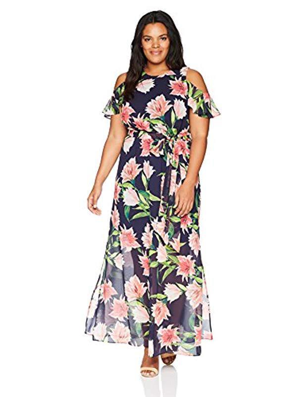 91f92510a0 Eliza J Plus Size Cold Shoulder Maxi Dress in Blue - Lyst
