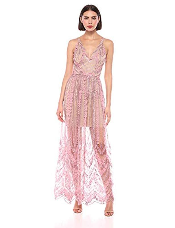 ac1df7d76cf8 Dress the Population. Women's Pink Embellished Plunging Gown Sleeveless  Floral Long Dress