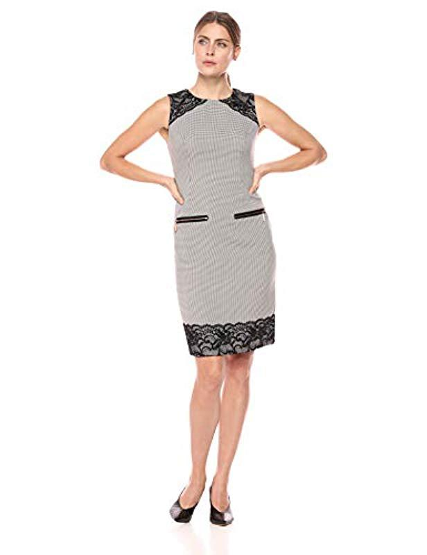 9cd976a1 Lyst - Ivanka Trump Sleeveless Plaid Dress With Lace in Black
