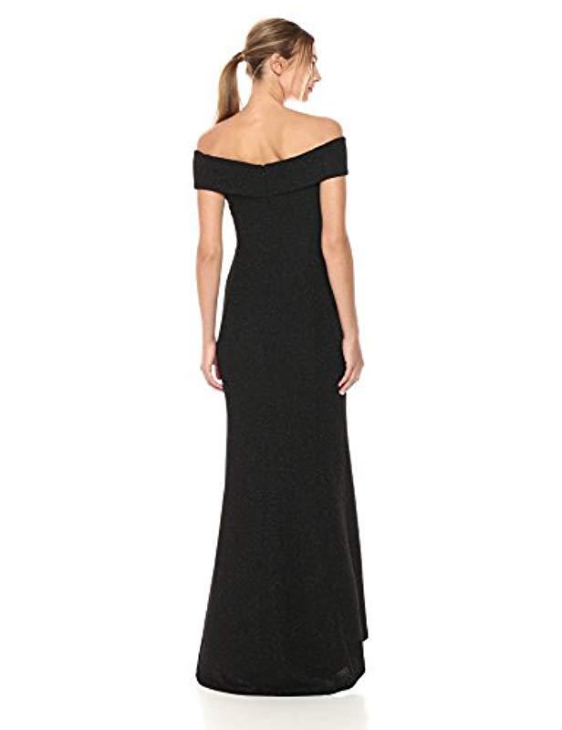 ea439790 Lyst - Eliza J Off-the-shoulder Glitter Gown in Black