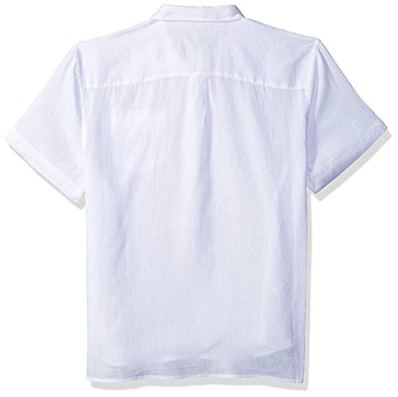 acd0409692ec Perry Ellis - White Short Sleeve Solid Linen Popover Shirt for Men - Lyst.  View fullscreen