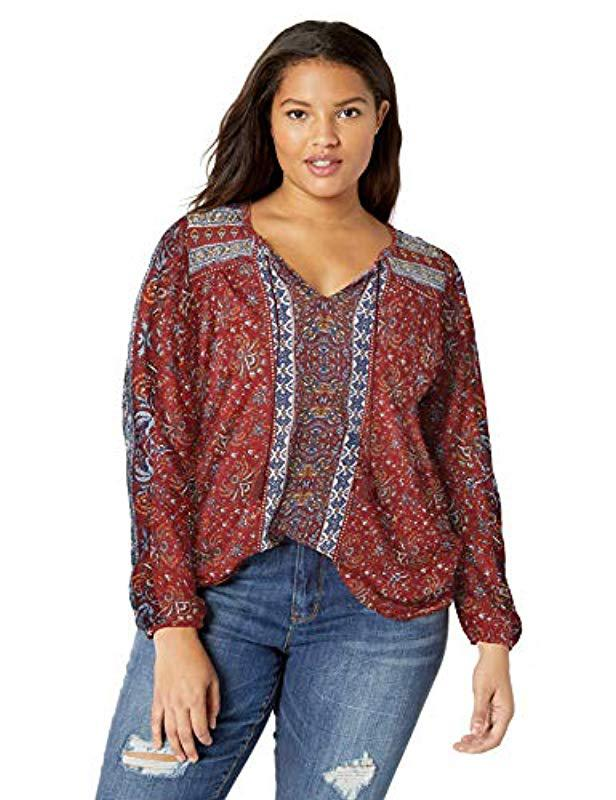32f0acdb6b5 Lyst - Lucky Brand Plus Size Printed Peasant Top Beads in Red